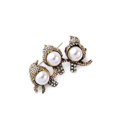 Retro Fashion Imitation Pearls Crys..