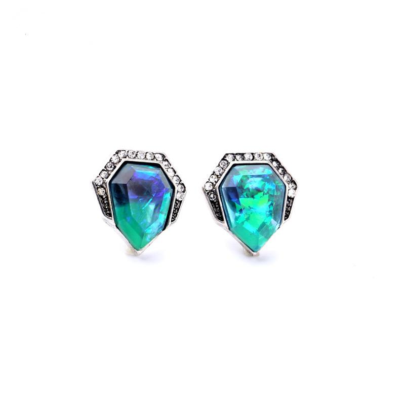 Concise Style Modern Women Party Jewelry Sparkling Blue Crystal Stud Earrings EH058