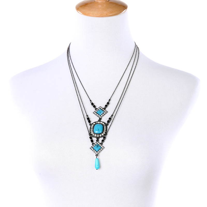 Fashion Retro Women Accessory Three Layers Blue Imitation Gems Pendant Necklace NL044