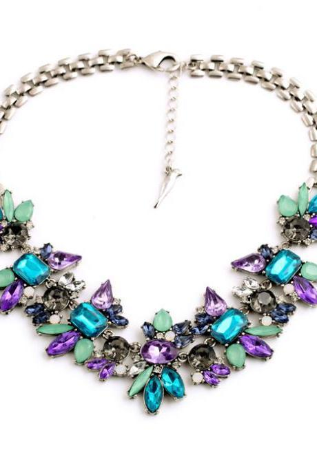 Luxury Created Crystal Flower Pendants Statement Necklace 2016 Fashion Jewelry NL002