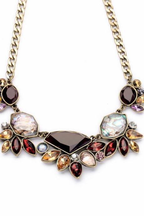 2016 Elegant Gold Color Chain Rhinestone Necklace Women Fashion Shourouk Statement Necklaces Pendants NL005