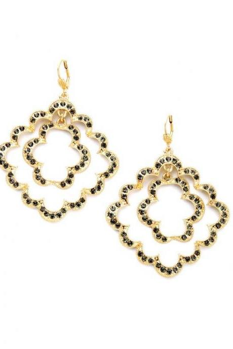 Grey Crystal Lace Gold Plated Large Drop Earrings Fashion Jewelry EH002