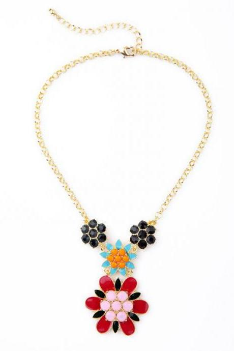 Luxury Atmosphere Colorful Enamel Flowers Bib Pendant Necklace Women Jewelry NL008
