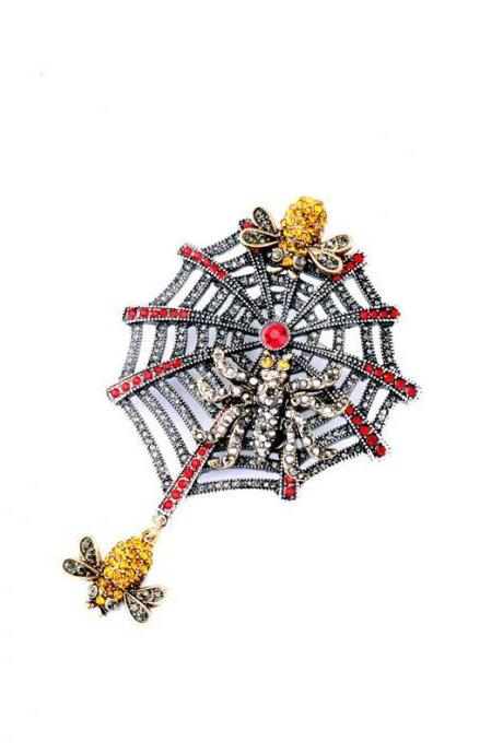 Alloy Spider Web Spider Unique Women Brooch 2016 Breastpin XZ001
