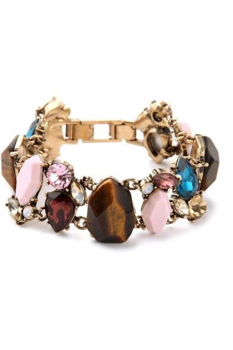 Alloy Retro Inlay Imitation Gemstones Charming Wide Women Bracelet New Design SZ005