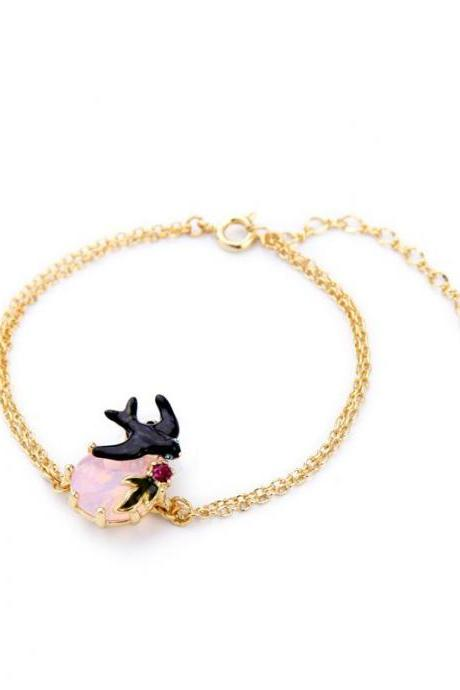 Sweet Girl Fashion Pink Crystal Enamel Flying Brid One Direction Gold Plated Women Bracelet SZ026