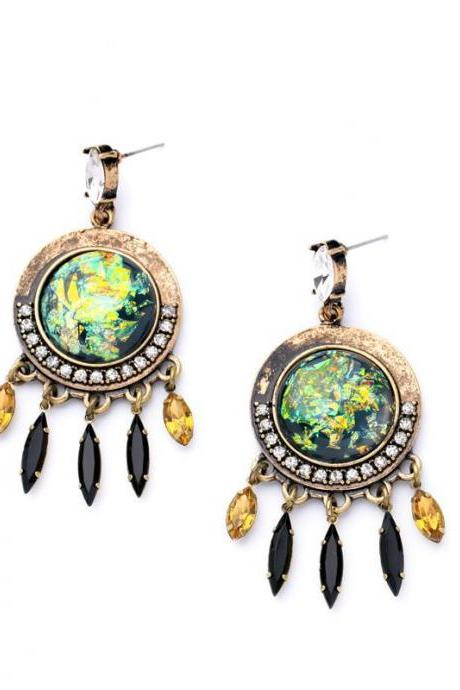 Alloy Retro Women's Trendy Ethnic Jewelry New Design Round Maxi Drop Earrings EH052