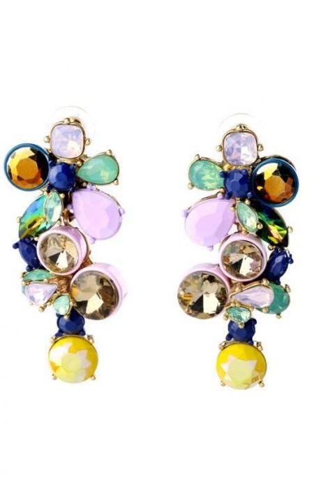 Women's Trendy Romantic Irregularity Set Colorful Crystal Maxi Drop Earrings for Women EH060