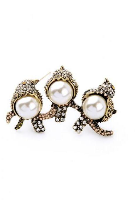 Retro Fashion Imitation Pearls Crystal Birds Women Brooch New Gold Plated Brooch Pins XZ015