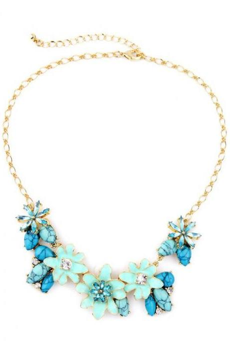 Valentine's Day Romantic Fashion Stone Enamel Flowers Women Necklace NL056