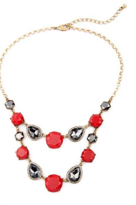 Vintage Fashion Layered Imitation Gems Geometric Bib Statement Necklaces for Women NL057