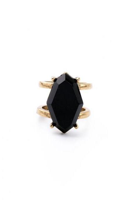 US size 7,2 PCS/Set New Black Imitation Gems Finger Rings for Women Fashion Jewelry JZ016