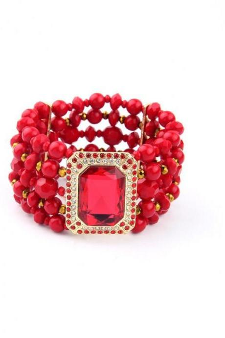 Nigeria New Costume Jewelry Wide Multilayer Beads Ruby Charming Cuff Bracelet SZ033