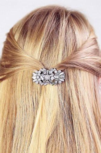 Sparkling Set Crystal Flowers Hairgrips Evening Party Dress Hair Jewelry Birthday Gift TS008