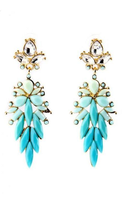 Alloy Fashion Jewelry Women Shiny Leaves Long Bib Statement Drop Earrings EH064