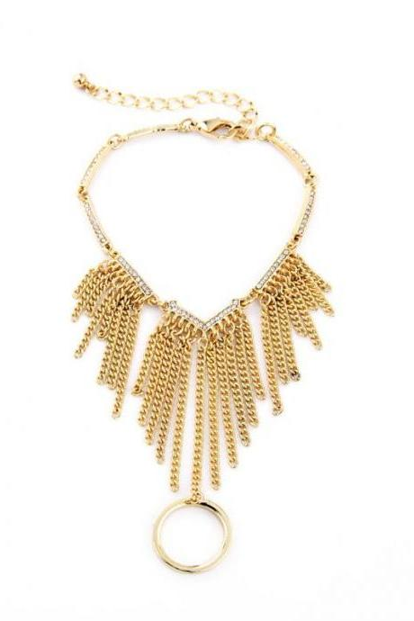 Luxury Atmosphere Women Accessories Unique Gold Plated Tassel Charm Bracelet SZ035