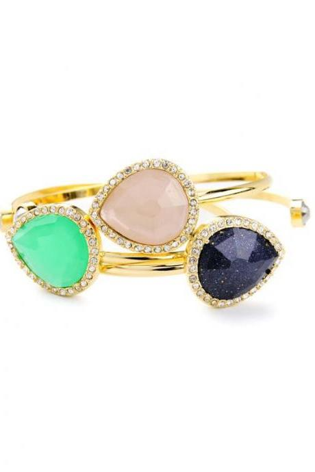 3pcs Personality Asymmetric Imitation Gems Women Cuff Bracelet New Arrival Open Bangle SZ038