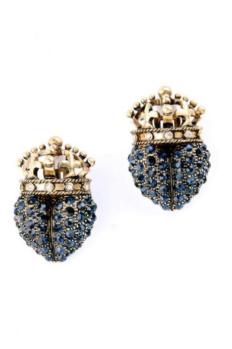 Geometric Retro Hollow Out Blue Crystal No Pierced Clip Earrings for Women EH069