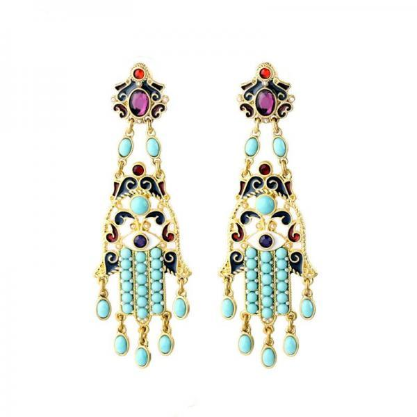 New Design Ethnic Style India Jewelry Enamel Printing Long Drop Earrings Maxi Brinco EH005