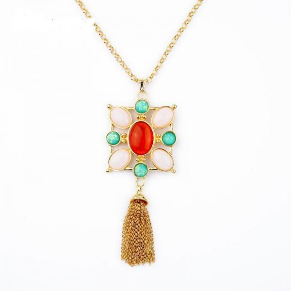 Alloy Long Fashion Colorful Imitation Gems Flower Pendant Necklace NL007