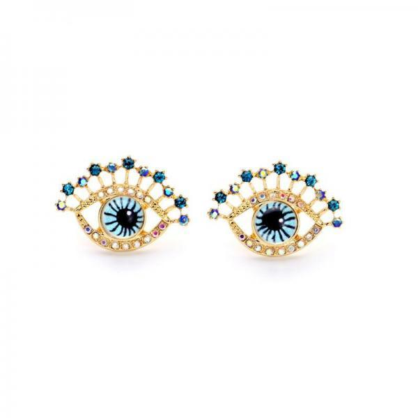 Personality Unique Godl Plated Blue Eyes Women Stud Earrings EH053
