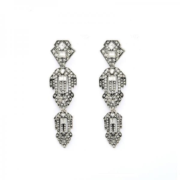 Alloy Fashion Retro Women Jewelry Crystal Geometric Long Drop Earrings EH068