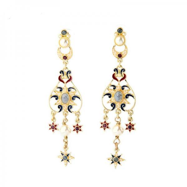 Long Gold Plated Classical Fashion Enamel Star Drop Earrings EH070